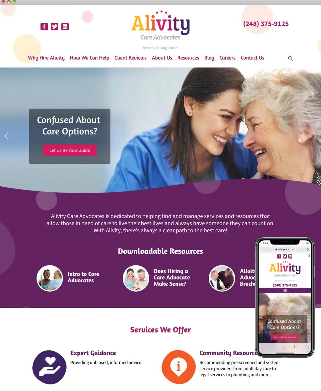 Alivity Care Advocates Website