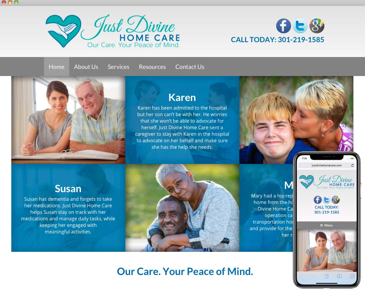 Just Divine Home Care Website